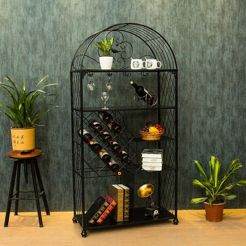 $910.48- Creative European Wine Holder Rack Hanging Glass Frame Cabinet Household Living Room Decoration Simple Multilayer Frame