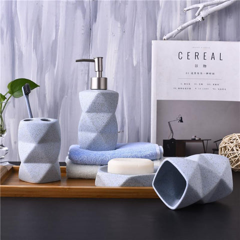 $51.93- Nordic Style Bathroom Set Ceramic Liquid Soap Dispenser Toothbrush Holder Four Piece Bathroom Accessories Set
