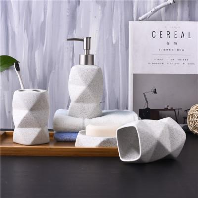 Nordic Style Bathroom Set Ceramic Liquid Soap Dispenser Toothbrush Holder Four Piece Bathroom Accessories Set