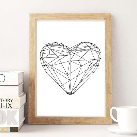 $4.54- Nordic Gepmetric Heart Shape A4 Canvas Art Print Painting Poster Wall Pictures For Living Room Wall Decoration Home Decor