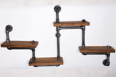 $249.18- 1Pc Industrial Pipe Bathroom Shelf Metal Wall Mounted Living Room Book Shelf Decorative Wall Wood Shelf Kitchen Bookcase Z29