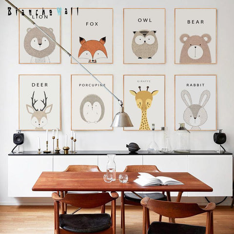 $6.25- Simple Cute Cartoon Animal A4 Canvas Painting Art Print Poster Picture Wall Modern Home Decor Child Baby Bedroom Decoration