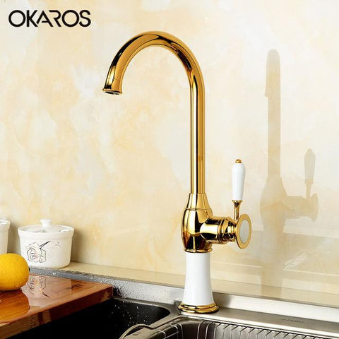 $70.20- OKAROS Kitchen Faucet Brass Golden Finish W/ White Paint Baked Decoration 360 Degree Swivel Single Handle Mixer Tap Torneira