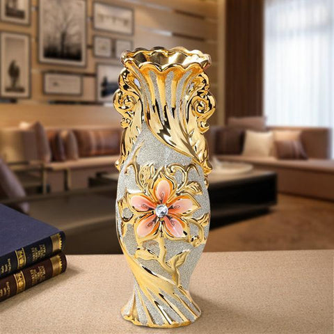 $35.18- Europe Gold Plated Frost Porcelain Vase Vintage Advanced Ceramic Flower Vase For Room Study Hallway Home Wedding Decoration