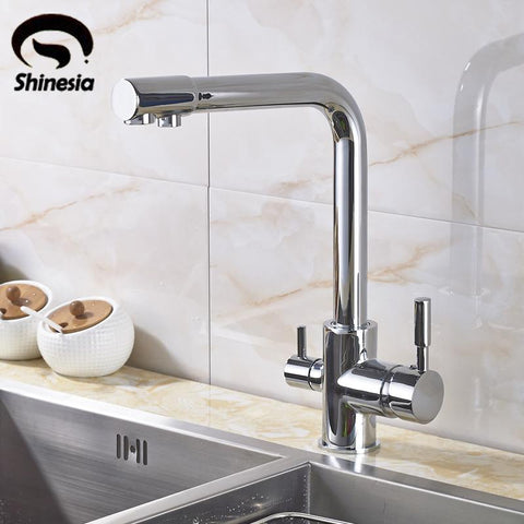 $85.97- New Chrome Pure Water Kitchen Sink Faucet Swivel Spout Purification Mixer Tap W/ Purified Water outlet