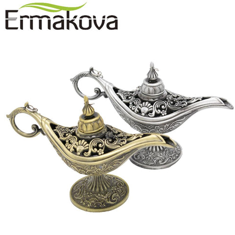 $15.18- Ermakova 12Cm4.7Classic Rare Hollow Legend Aladdin Magic Genie Lamps Incense Burners Retro Wishing Oil Lamp Home Decor Gift