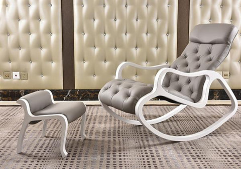 $572.36- Leather Upholstered Chaise Lounge with Ottoman Set White Finish Wood Living Room Furniture Modern Rocking Chair Lounger Daybed