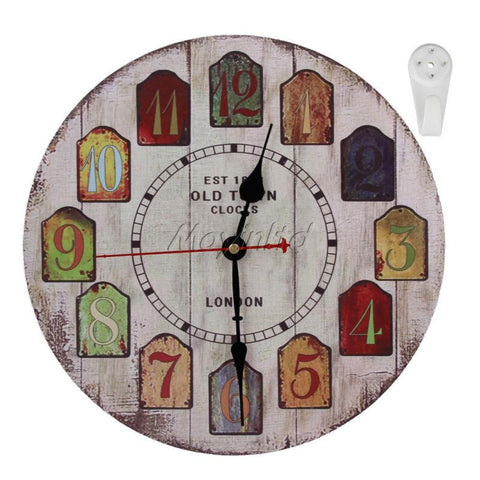 Home Office European Retro Style Decorative 12 Wood Wall Clock Arabic Numeral