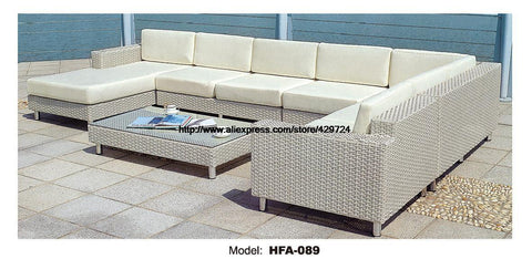 $2168.45- Luxury Large Sofa Outdoor U Shaped Rattan Sofa Furniture Set 2016 New Factory Price Pe Rattan Garden Beach Furniture Glass Table
