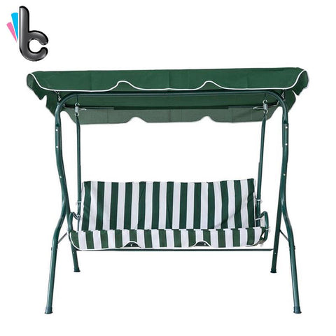 Karmasfar Outdoor Green White Stripe Swing 3 Seater Canopy Swing Chair Hammock Garden Backyard Porch Cushioned Steel Frame Swing