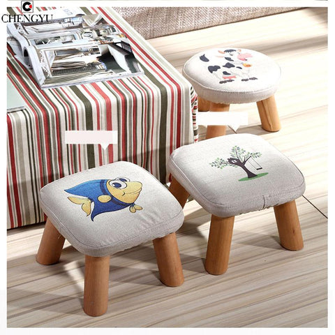 $86.65- Modern Stool Solid Wooden Washable Fabric Stool Solid Fabric Linen Creative Children Small Chair Sofa Round Bench 28*28*20cm