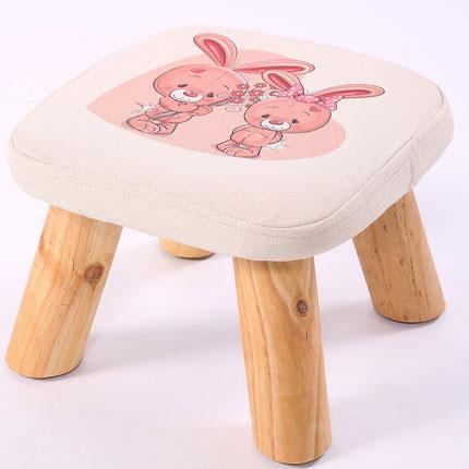 Modern Stool Solid Wooden Washable Fabric Stool Solid Fabric Linen Creative Children Small Chair Sofa Round Bench 28*28*20cm
