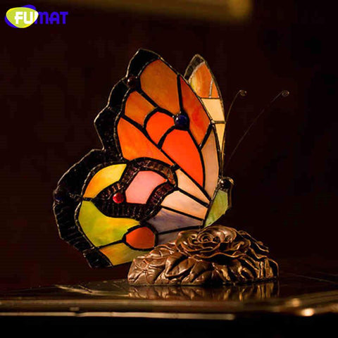 $92.28- Butterfly Table Lamp Creative Stained Glass Light For Living Loom Bedside Indoor Lightings Butterfly Lampshade Desk Lights