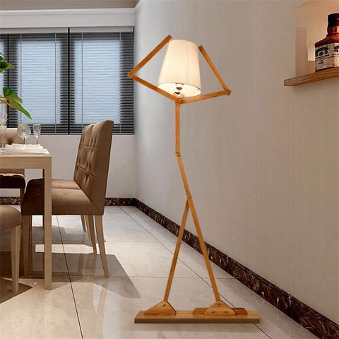 $330.76- Nordic Creative Wooden Floor Lamps E27 Log Fabric Stand Light Living Room Bedside Piano Reading Lamp Modern Decorative Lighting