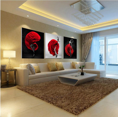 $13.11- Unframed 3 Pieces Sexy Lady Figure Wall Art Picture Printed Oil Painting by Numbers High Quality Home Decor