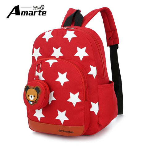 $18.34- New Cute Starts Printed Kids Bags Fashion Nylon Children Backpacks For Kindergarten School Backpacks Bolsa Escolar Infantil