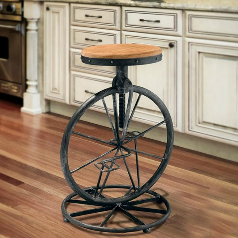 $371.25- Wrought Iron Bicycle Style Chair Wheel Stool Industrial Wind Lifting Chair Retro Bar Stool Solid Wood Leisure Chair
