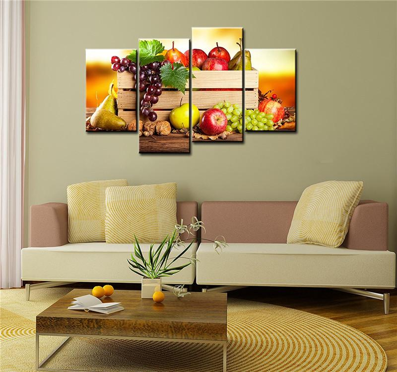 $33.41- 4 Panels Paintings For The Kitchen Fruit Wall Decor Modern Canvas Art Wall Pictures For Living Room Descorative Pictures
