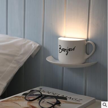 $37.80- Diy Night Light Novelty Coffee Cup Voice Sensor Led Lamp Home Deco Living Room Usb Charge For Children Friend Night Lights