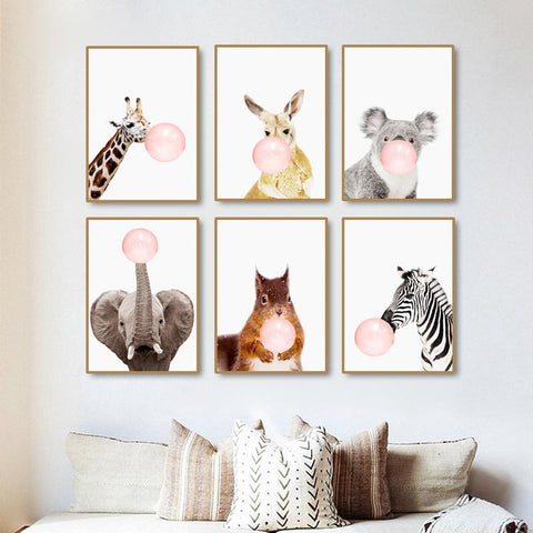 $4.94- Modern Pink Balloon Nordic Cartoon Zebra Cute Kids Room Decor Art Canvas Painting Warm Family Poster Wall Pictures Home Decor