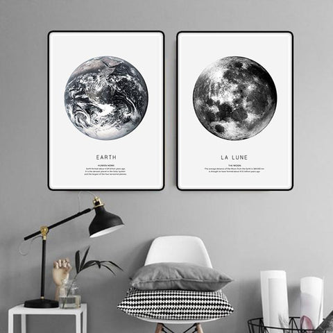 $19.80- Earth Mars Cuadros Nordic Poster Canvas Art Wall Prints Abstract Painting Black White Home Decor 3 Piece For Living Room