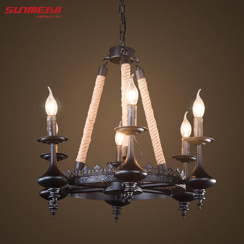 $148.38- Retro Loft Vintage Pendant Lights Loft Mirror Bar Rope Pendants Lamps Industrial Lamp Lustres De Teto Suspension Luminaire Light