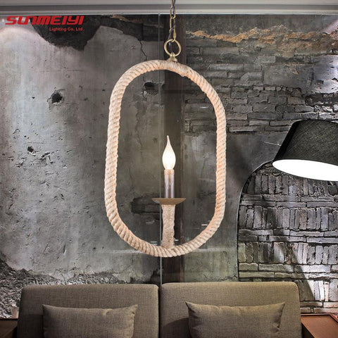 $109.22- Vintage Rope Pendant Light Lamp Loft Creative Personality Industrial Lamp Edison Bulb American Style For Living Room