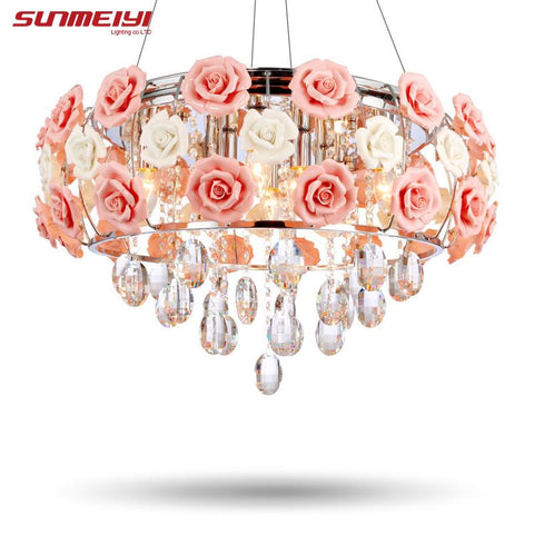 $244.18- New Arrival Led Crystal Ceiling Lights Lustres De Sala Beautiful Rose Style For Bedroom Dining Room
