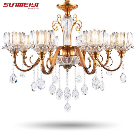 Modern Crystal Chandeliers Lighting Fixture Euro Creative Flower Iron Led Ceiling Lamp For Dining Room Living Room