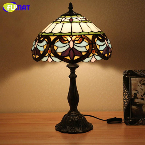 Glass Table Lamp Baroque Style Creative Light Vintage Style Stained Glass Bedroom Desk Reading Light Bedside Light