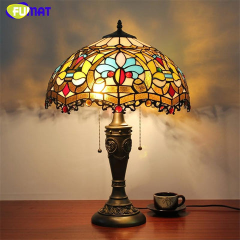 $268.13- Stained Glass Table Lamp European Style Baroque Glass Shade Lamp Living Room Hotel Bedside Lamp Home Decor Light Fixtures