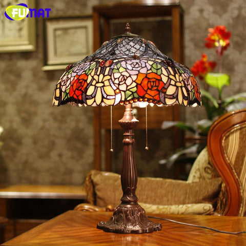 $829.84- Glass Stand Lamp High Quality Stained Glass Rose Shade Table Lamp Living Room Bedside Stand Lamp Wedding Light Fixtures