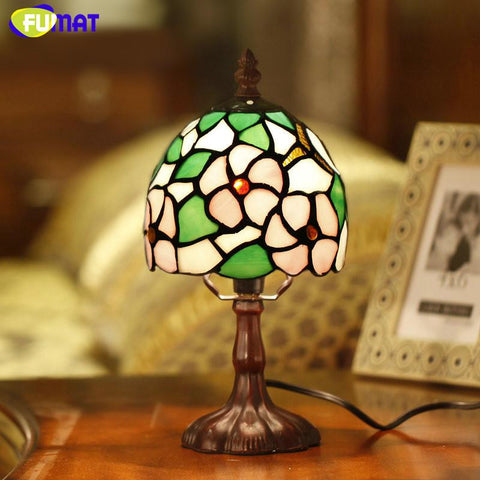 $134.61- Stained Glass Lamp Bedside Sakura Table Lamp Art Glass Shade Desk Lamp Living Room Hotel Bar Bedside Light Fixtures Gift