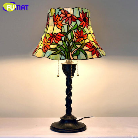 $632.63- Table Lamp Vintage Stained Glass Light Fixtures Flower Lampshade Lampe Living Room Hotel Book Store Bar Decor Stand Lights