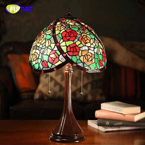 $362.26- Stained Glass Table Lamp European Style Art Rose Glass Lamp Hand Made Led Bedside Living Room Wedding Decor Light Fixture