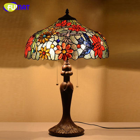 Stained Glass Lamp European Style Classic Table Lamp Flowers Desk Lamp Home Decor Living Room Office Light Fixtures