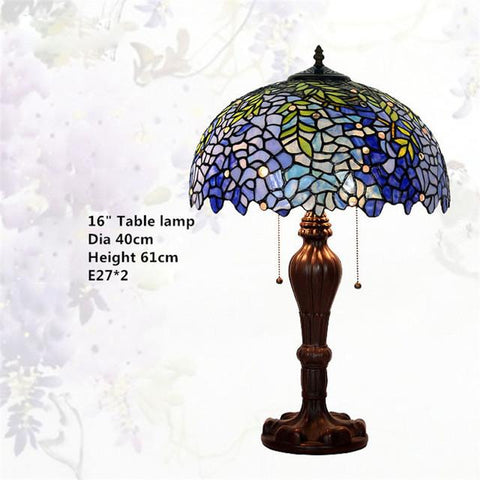 $259.58- Glass Tiffany Lamp European Style Vintage Luxury Wistaria Table Lamp Living Room Hotel Wedding Lamp Decor Light Fixtures