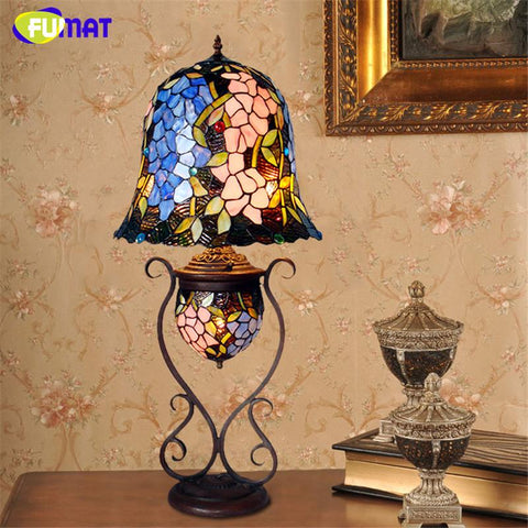 $728.95- Antique Table Lamp Artistic Wisteriastained Glass Shade Stand Lights Living Room Store Bar Bedroom Bedside Light Fixtures