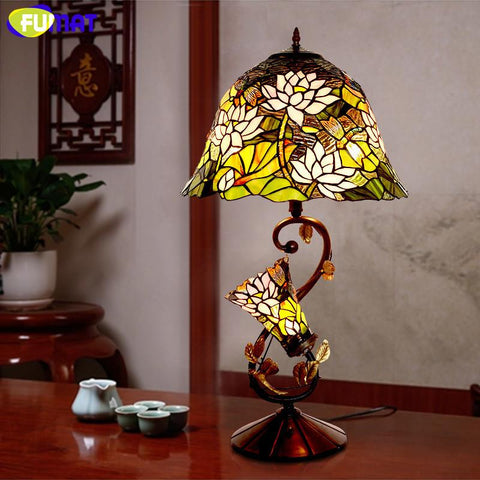 $641.21- Glass Art Lamp Quality Stained Glass Lotus Shade Table Lamp European Living Room Bedside Stand Lamp Bar Light Fixtures