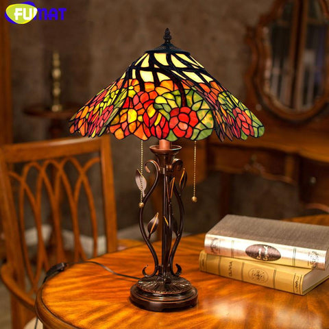 Stained Glass Lamp 16Inch Classical Desk Lamp Warm Romantic Whirly Flower Living Room Table Lamp Bedside Lights