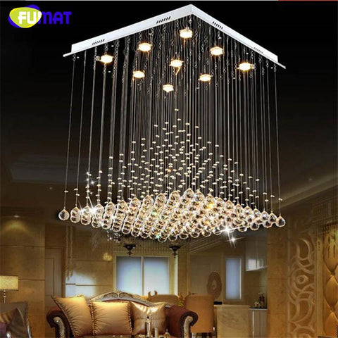 K9 Crystal Chandelier Modern Lustre Hotel Stair Led Crystal Lighting Fixtures Lobby Rain Drop Chandeliers Lustres Lights
