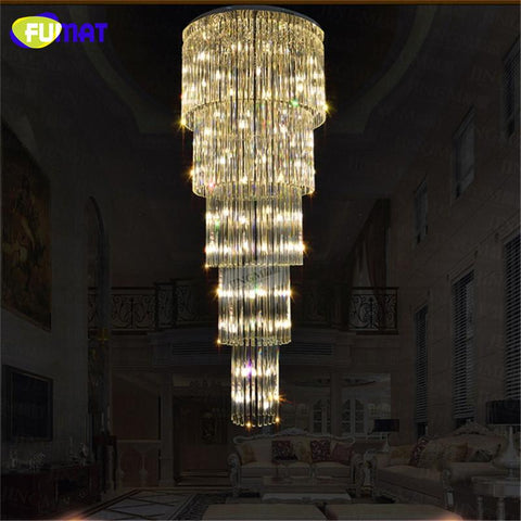 K9 Crystal Chandelier Ceiling Double Staircase Luxurious Lamp Chrome Finished Lustre Crystal Large Chandelier Lights