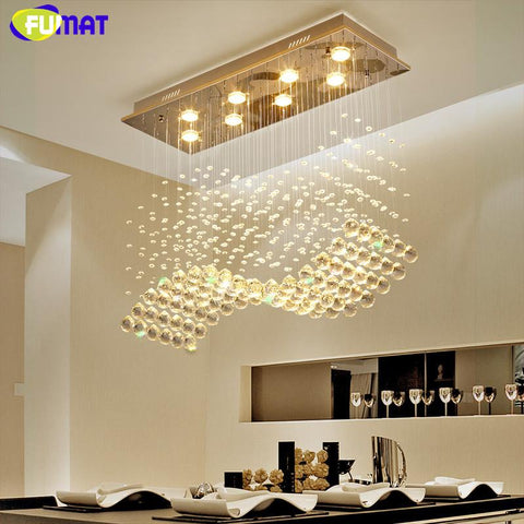 K9 Crystal Chandeliers Led Gu10 Chrome Finished Wave Light Modern Art Decor Suspension Lighting Hotel Villa Hanging Lamp