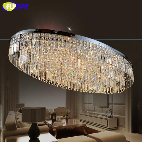 $1596.80- K9 Crystal Ceiling Lamp Led Living Room Oval Design Chandeliers Modern Lighting Hotel Decor Indoor Lighting Lustre Lampe