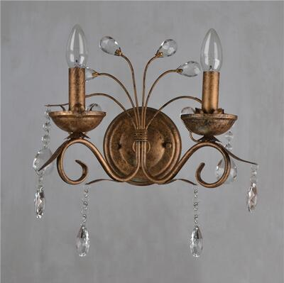 $265.82- K9 Crystal Wall Lamps Vintage Metal Art Deco Wall Sconce Light Brass Bedside Light 2 Lights Living Room Candle Wall Lamps