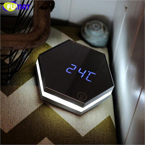 $53.77- Clock Led Night Lamp Mirror Alarm Clock Usb Charging Led Desk Lamp Touch Sensing Portable Night Light Gift Bedside Lamps