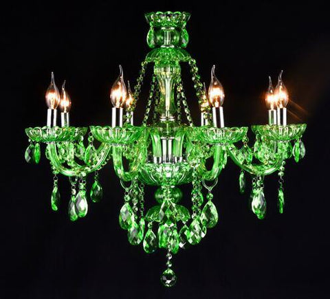$690.44- Crystal Candle Chandelier Led Green Crystal Suspension Lamp Cafe Bar Restaurant Hall Diffuse Light Fixtures Living Room