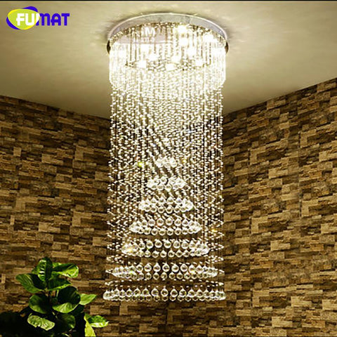 K9 Crystal Chandelier Ceiling Sky Rain Fall Crystal Light For Living Room Led Spiral Art Deco Lightings Large Crystal Lamp