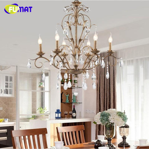K9 Crystal Chandeliers European Retro Artistic Candles Suspension Lightings Living Room Bedroom Art Deco Hanging Lampe