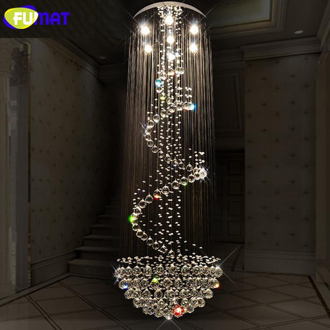 K9 Crystal Chandeliers Modern Spiral Suspension Lightings Led Hotel Villa Lobby Luxury Led Crystal Lustre Living Room